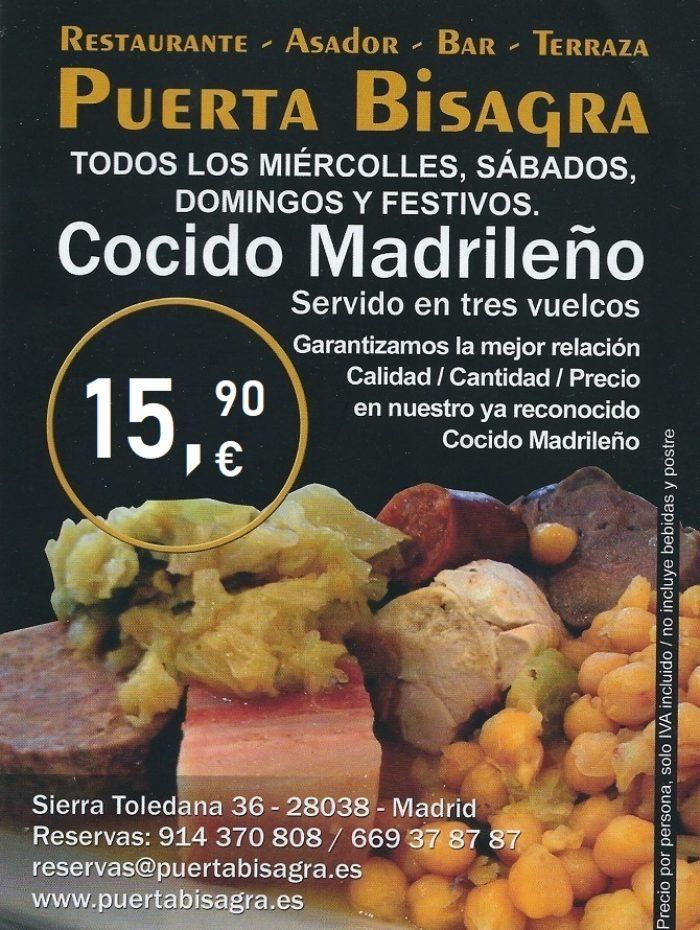 cocido madrileño completo 15,90 euros